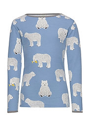 T-shirt LS. Woolmix. Bear. - WINTER BLUE
