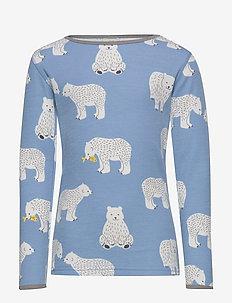 T-shirt LS. Woolmix. Bear. - WINTER BLUE