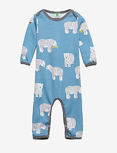 Body Suit LS WoolMix. Bear - WINTER BLUE