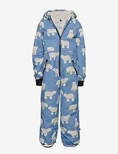 Snowsuit, 1 zipper. Bear - WINTER BLUE