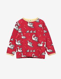 T-shirt med svaner - DARK RED