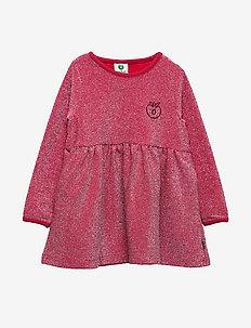 Dress LS. Glitter. Solid - DARK RED