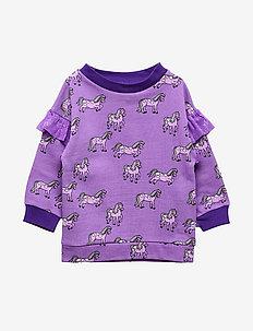 Sweatshirt med heste - bluzy - purple heart