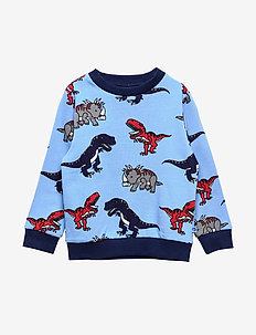 Sweatshirt med dinosaurus - WINTER BLUE