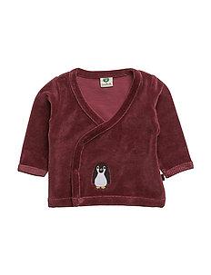 Velvet cardigan for baby - MAROON