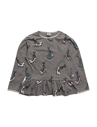3543adedc38b1e Småfolk T-shirt With Iceskates And A Little Skirt. Glitter (M. Grey Mix ...