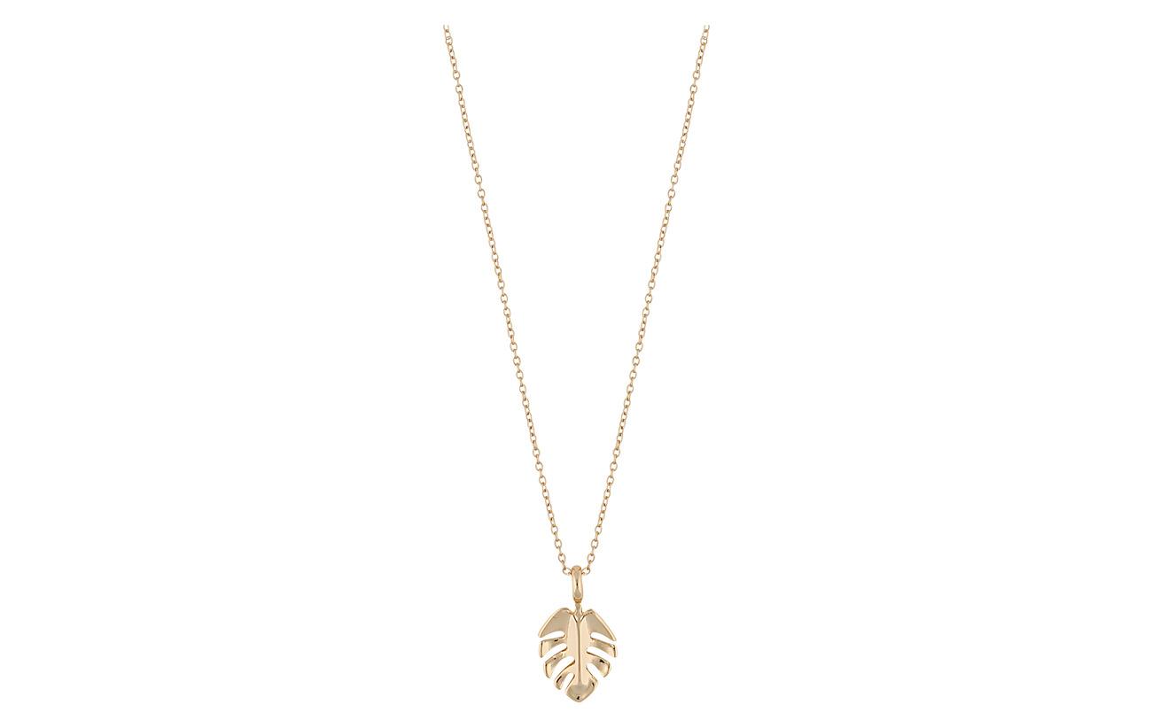 SNÖ of Sweden Hyde leaf small pendant neck 42 plain g - PLAIN G