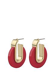 Gray Small Oval Ear G/Pink Örhänge Smycken Guld SNÖ OF SWEDEN