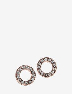 Spark small coin ring ear - studs - rosé/clear