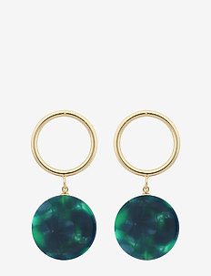 Central ring pendant ear - statement - g/green