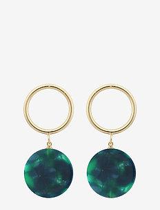 Central ring pendant ear - statement-øreringe - g/green