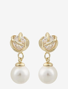 Grass pearl pendant ear - pendant - g/white