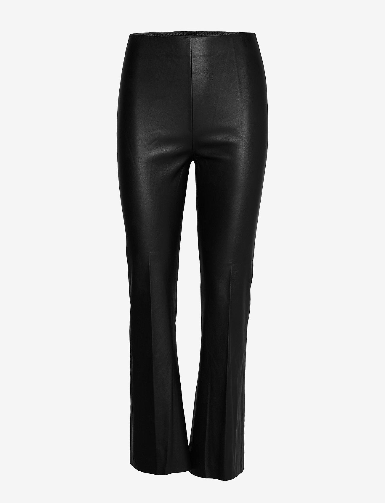 Soaked in Luxury - SLKaylee PU Kickflare Pants - skinnbyxor - black - 0