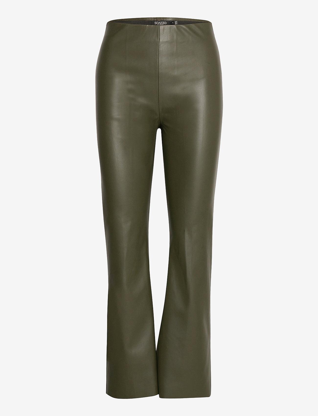 Soaked in Luxury - SLKaylee PU Kickflare Pants - læderbukser - climbing ivy - 1