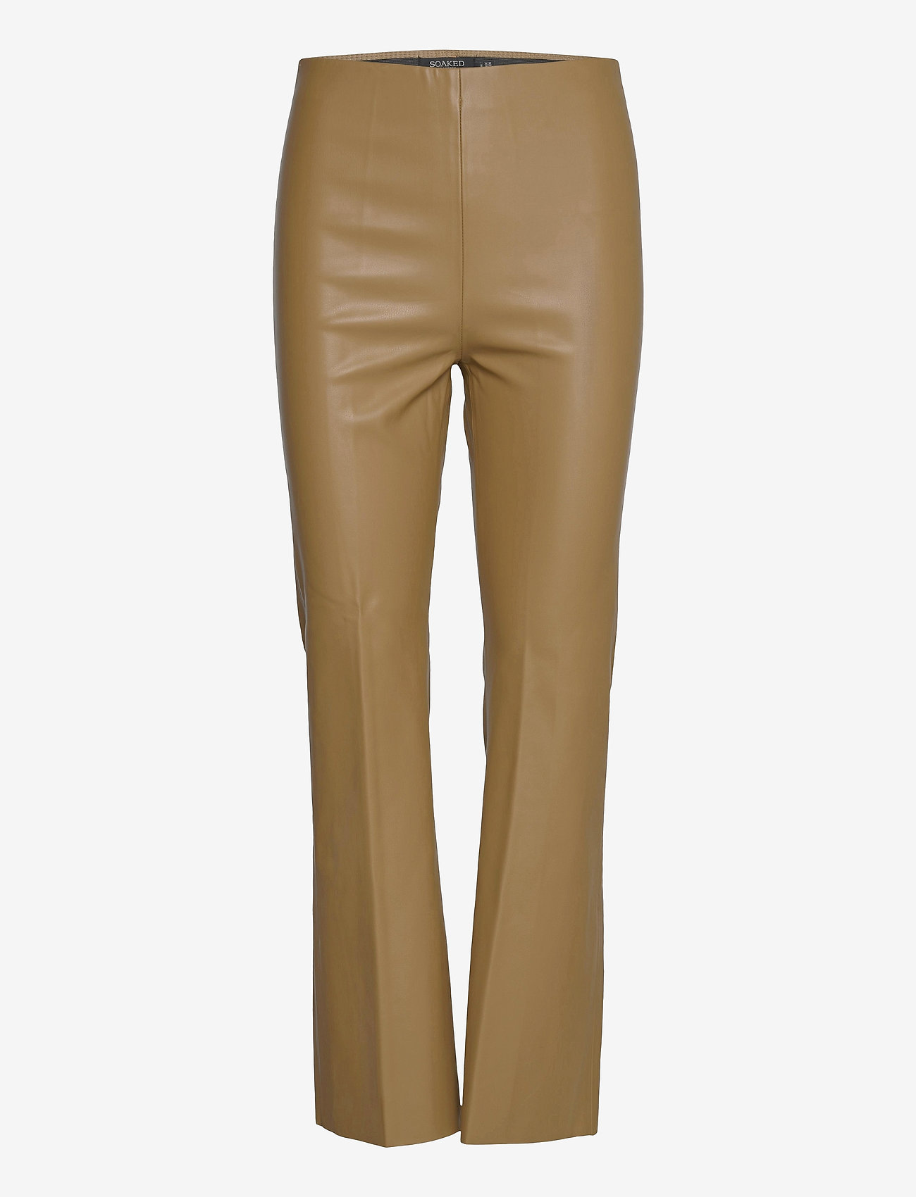 Soaked in Luxury - SLKaylee PU Kickflare Pants - læderbukser - ermine - 1