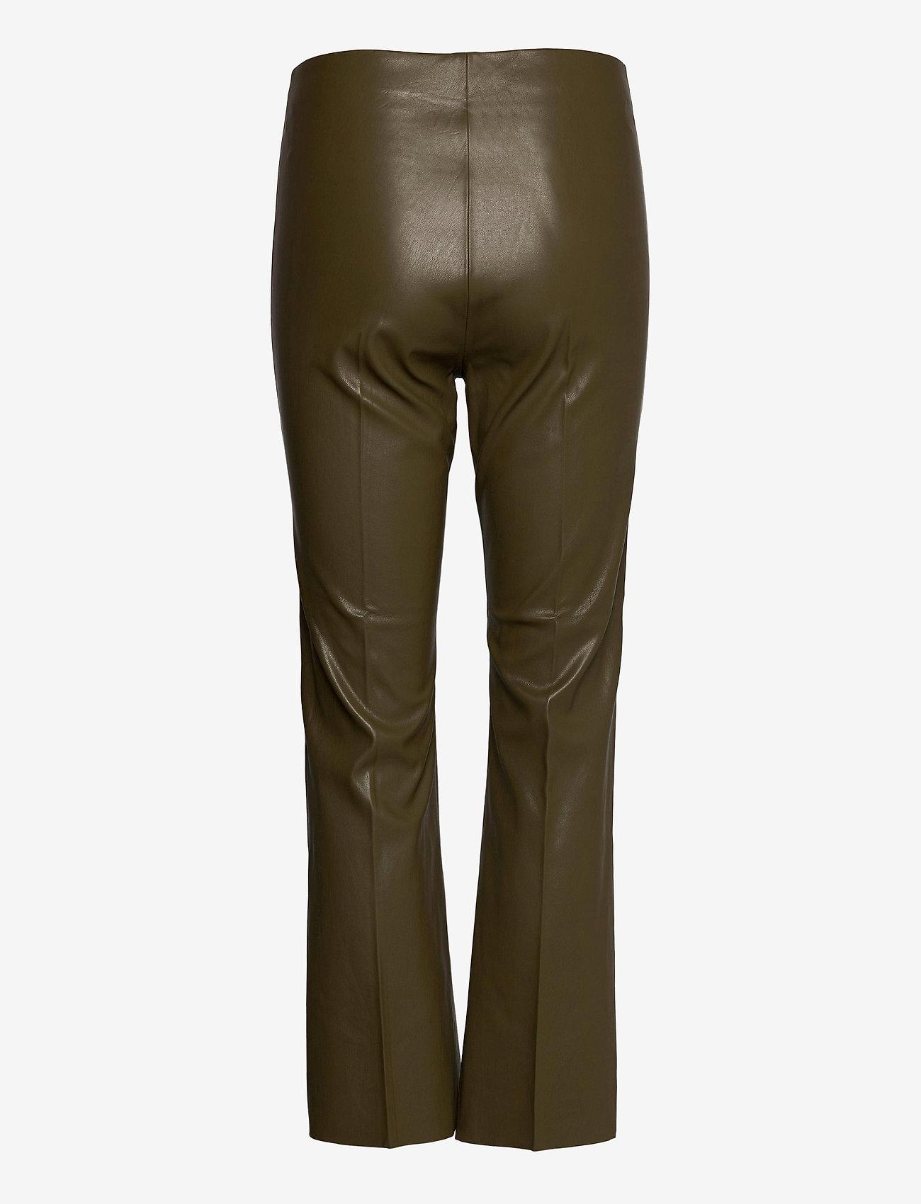 Soaked in Luxury - SLKaylee PU Kickflare Pants - skinnbyxor - military olive - 1