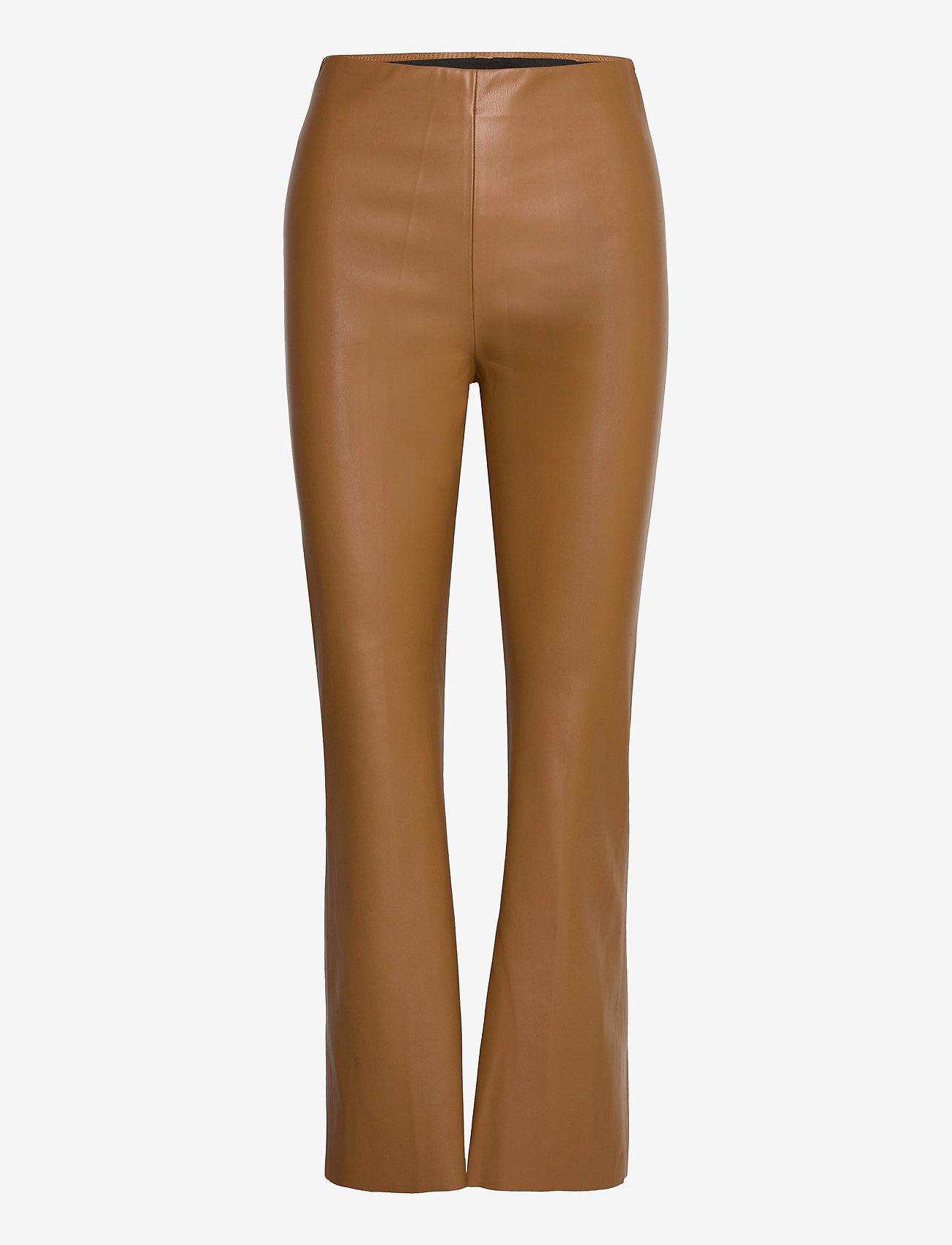 Soaked in Luxury - SLKaylee PU Kickflare Pants - skinnbyxor - rubber - 0