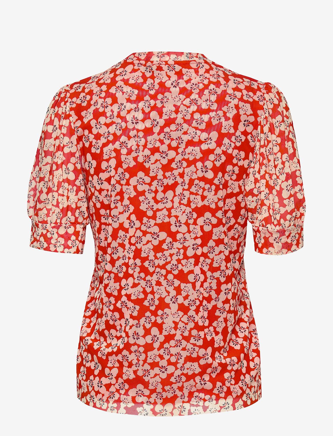 Soaked in Luxury SLAldora Top SS - Blusen & Hemden TANGERINE TANGO FLOWER PRINT - Damen Kleidung