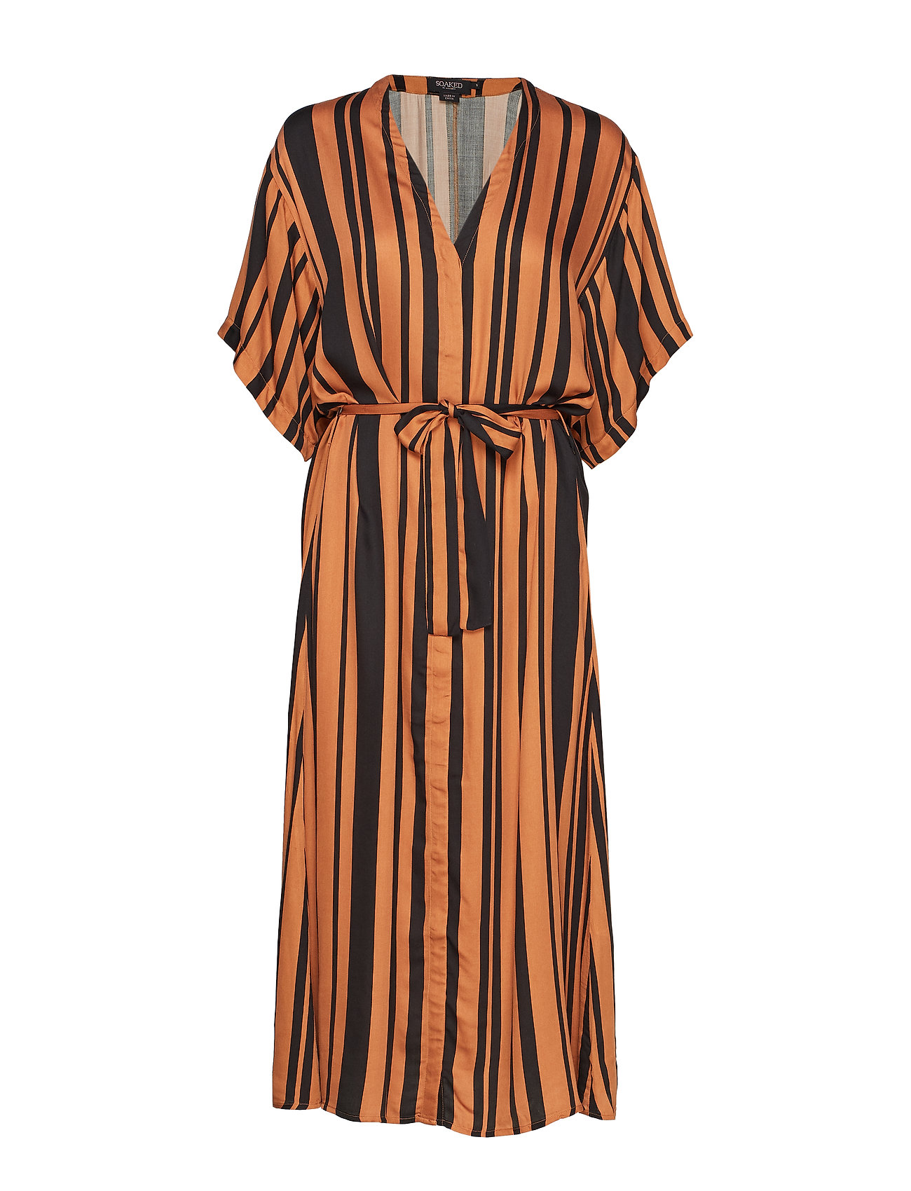 Soaked in Luxury SL Rochella Dress - PECAN BROWN AND BLACK STRIPES