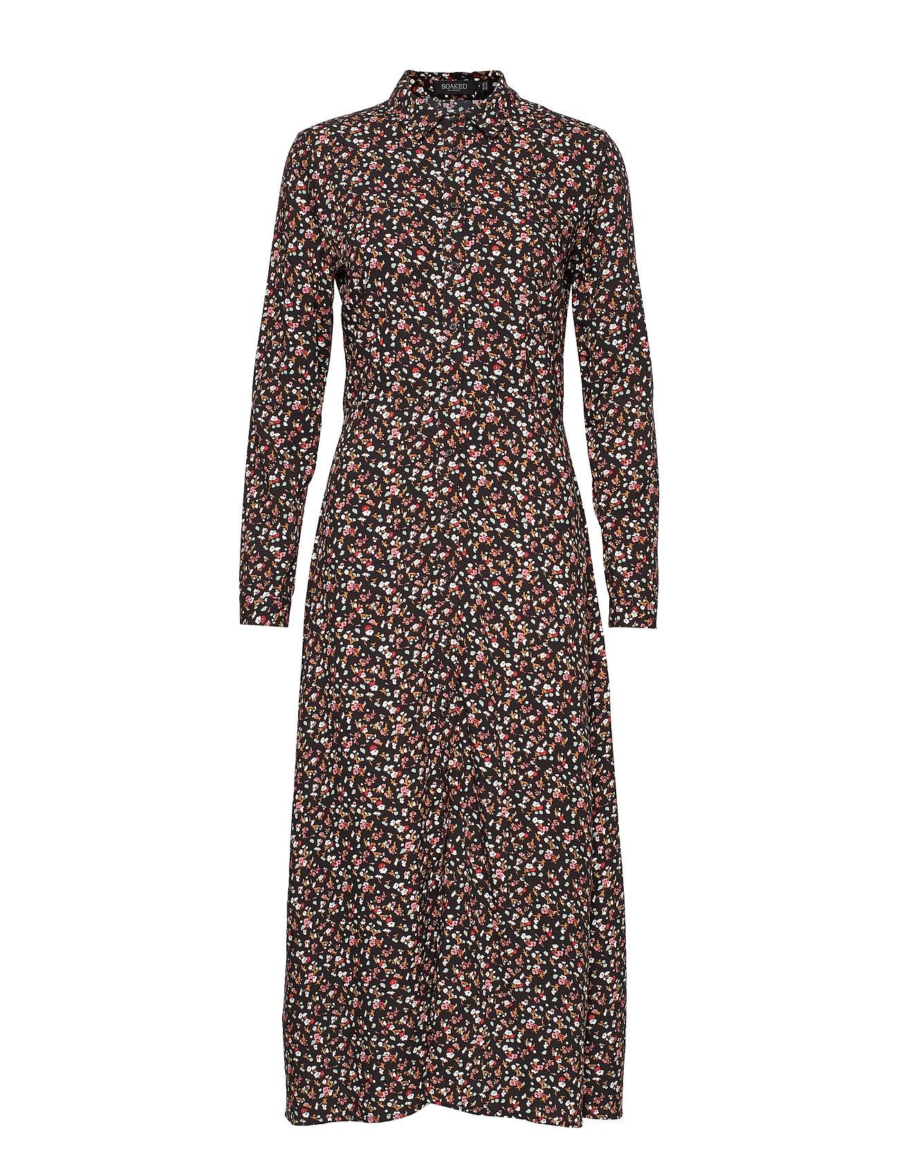 Soaked in Luxury SL Alva Oda Shirt Dress - BLACK MINI FLOWERS