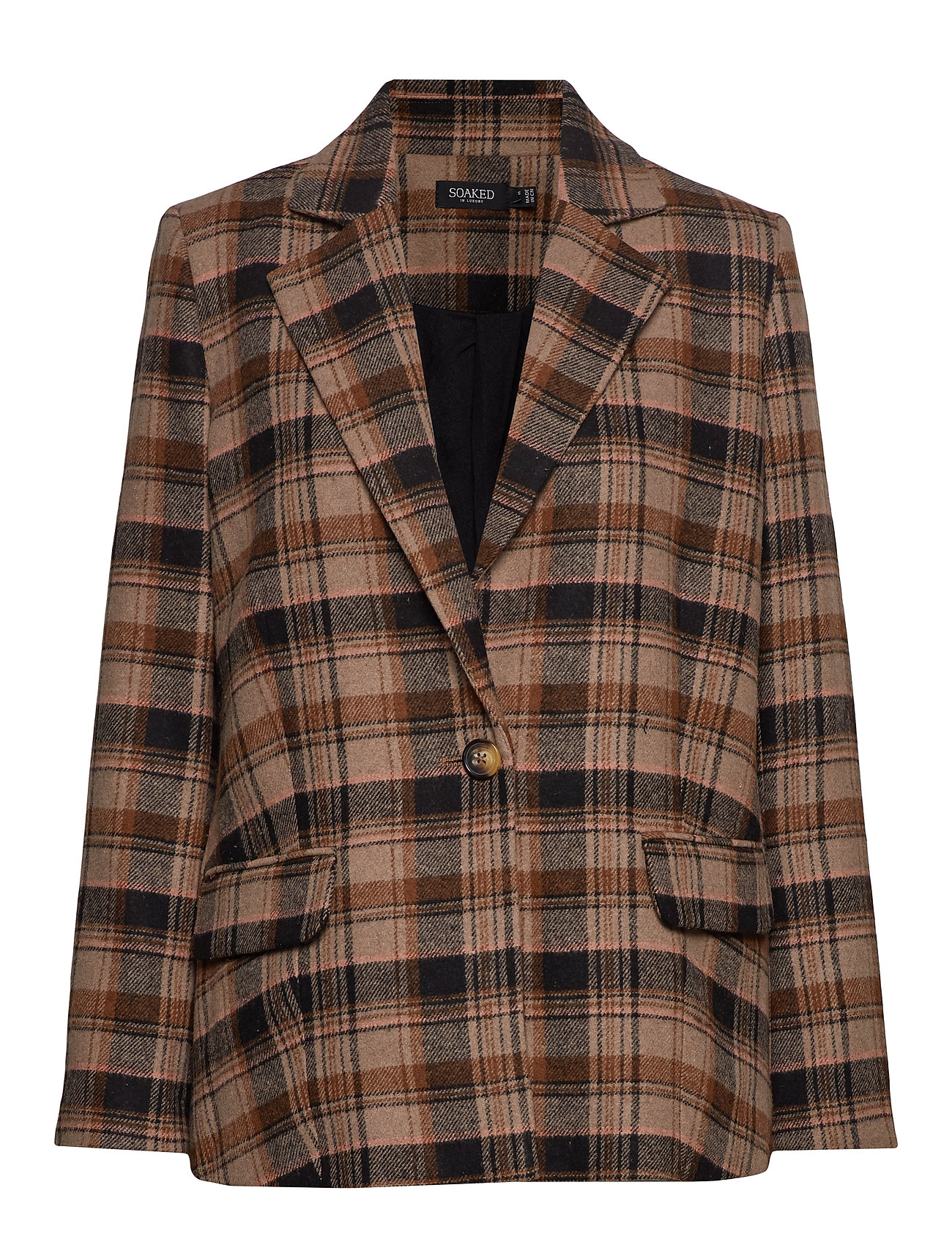 Soaked in Luxury SL Indie Check Blazer - EUCALYPTUS CHECK PATTERN