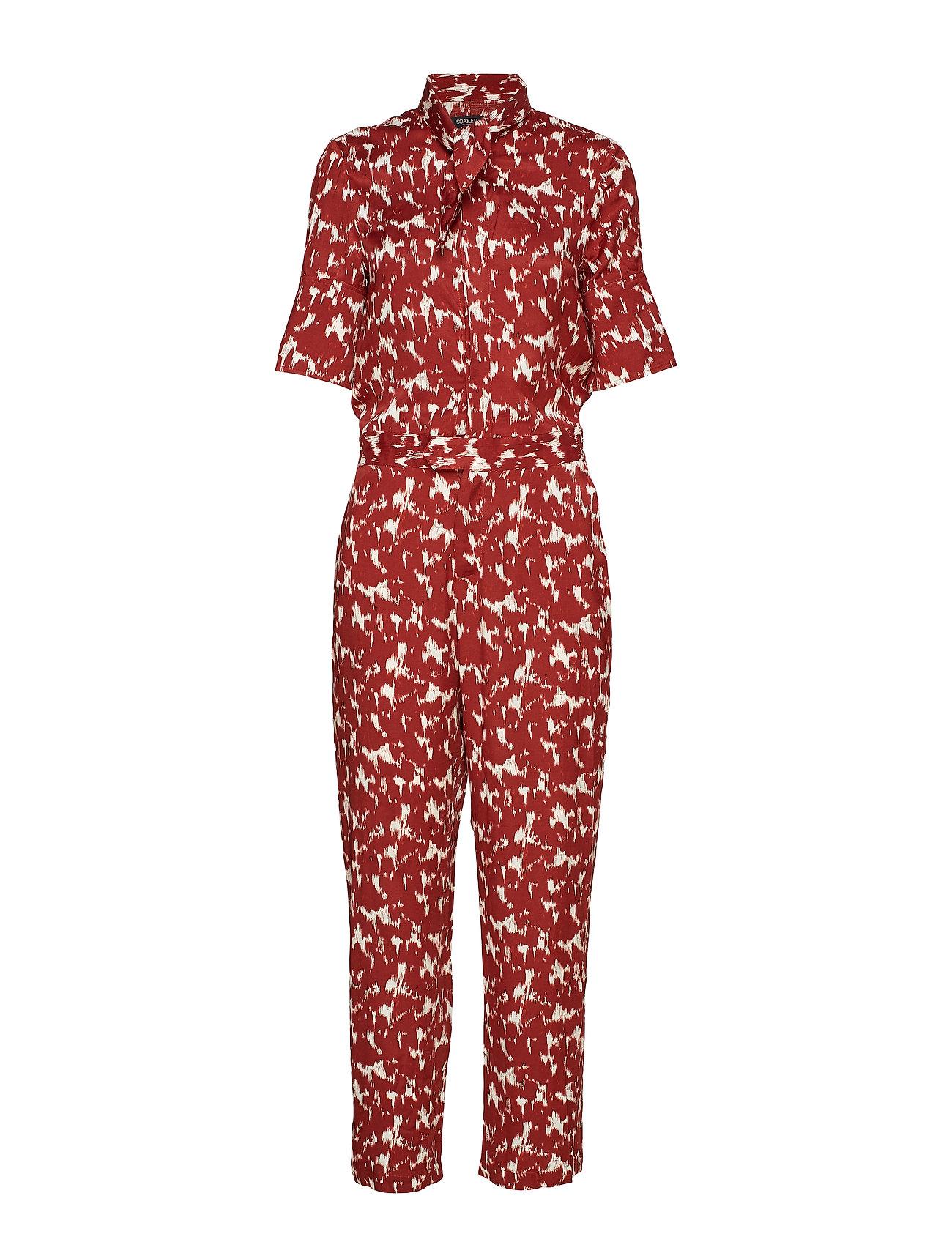 Soaked in Luxury SLZaldana Jumpsuit Print - FIRED BRICK PRINT