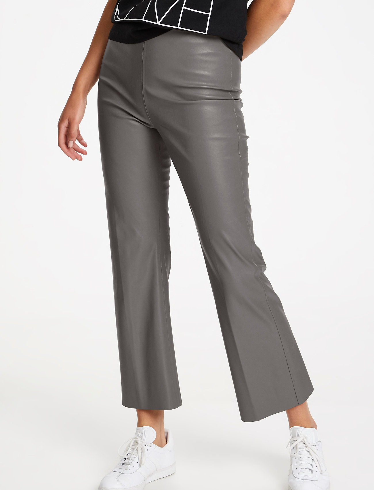 Soaked in Luxury - SLKaylee PU Kickflare Pants - skinnbyxor - brushed nickel - 0