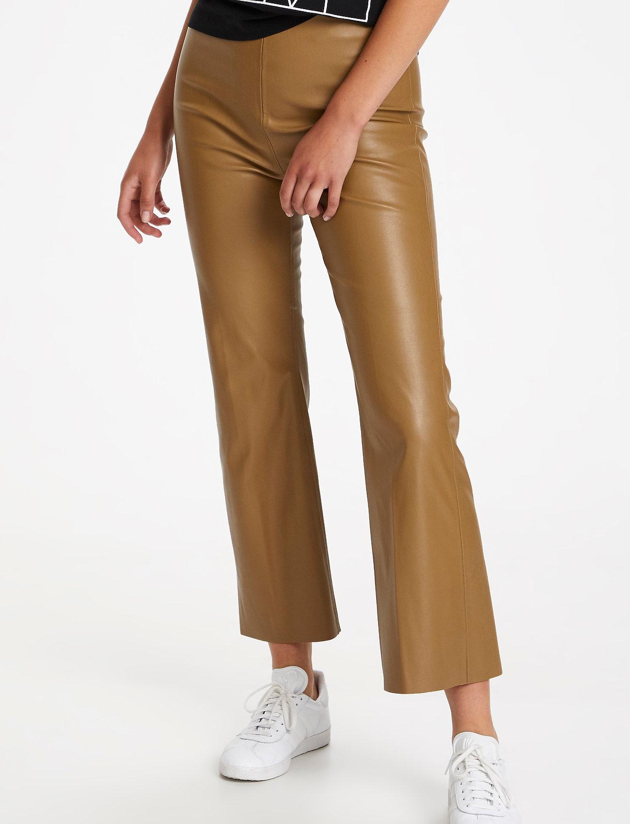 Soaked in Luxury - SLKaylee PU Kickflare Pants - læderbukser - ermine - 0