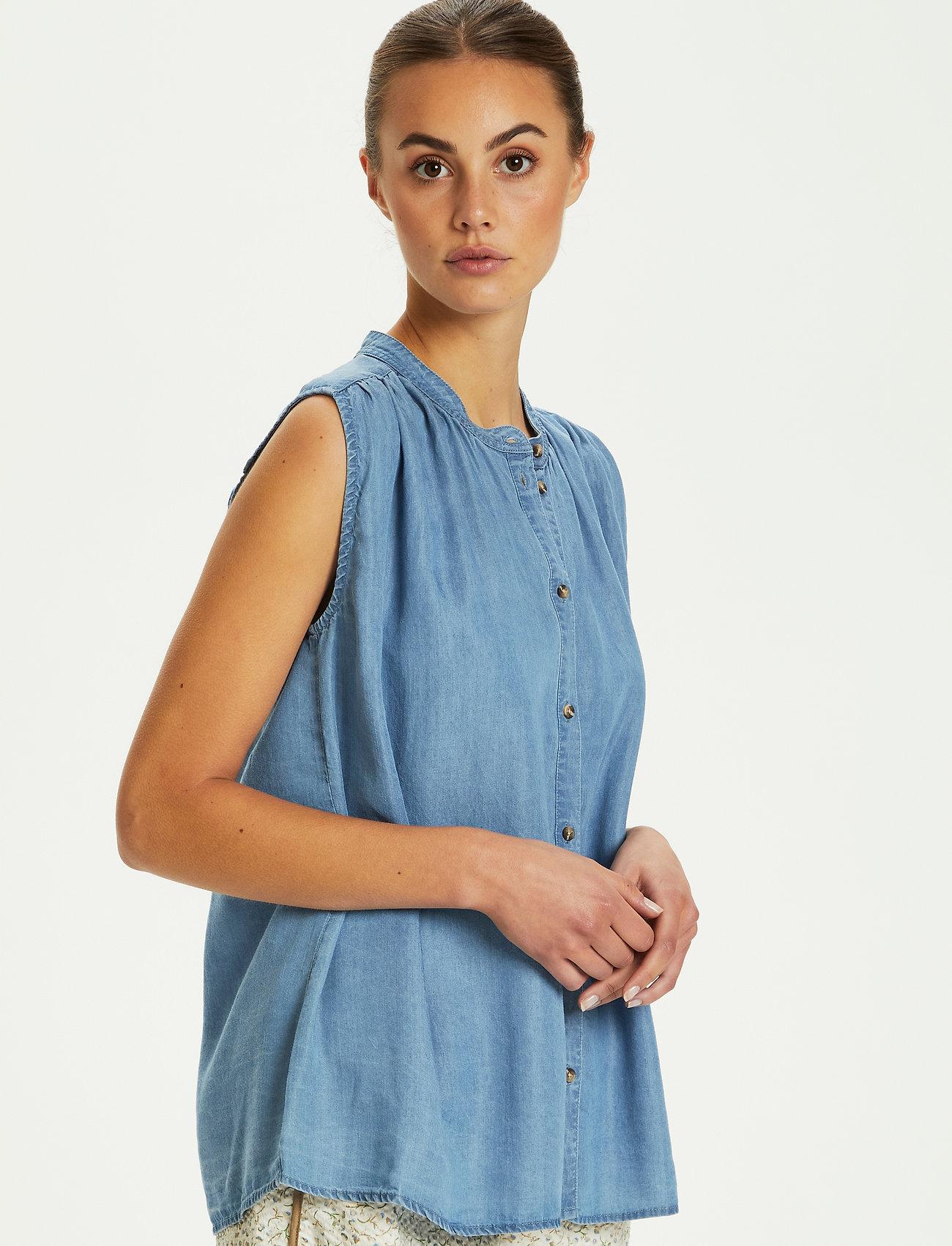 Soaked in Luxury - SLDalia Nadeen Top - sleeveless blouses - light blue denim - 0