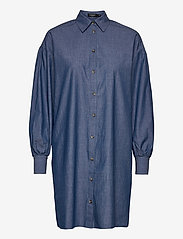 Soaked in Luxury - SLAlf Arcy Dress LS - skjortklänningar - classic blue denim - 0