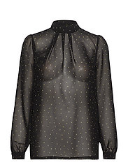 Aggie Dot Top LS - BLACK WITH MISTED YELLOW DOTS