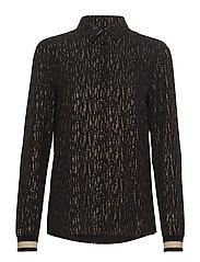 Devon Shirt LS - BLACK WITH GOLD PRINT