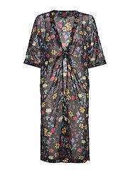 Sx Molise Kimono - BLACK WITH FLOWERS