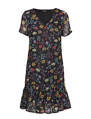Sx Molise Dress - BLACK WITH FLOWERS