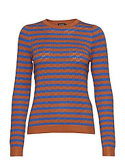 Sx Menika Striped Jumper - LEATHER BROWN