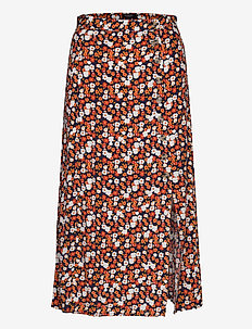 Sx Yrsa Skirt - FLAME ORANGE FLOWER PRINT