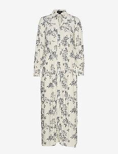 SL Mimi Dress - ANTIQUE WHITE WITH MAVY PRINT