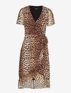 SL Easton Una Dress SS - PECAN BROWN LEOPARD PRINT