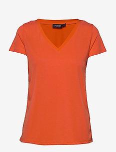 SL Columbine V-neck SS - basic t-shirts - tangerine tango