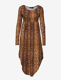 SL Kaa Dress LS - BROWN SUGAR SNAKE PRINT