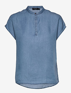 SLKesia Bell Top - blouses med korte mouwen - medium blue denim
