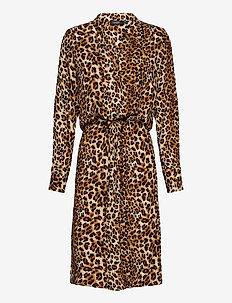 SLZaya Dress LS - midiklänningar - beige leopard