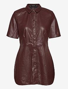 SLPatrice Shirt SS - overhemden met korte mouwen - rum raisin