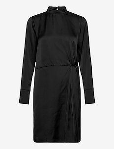 SLAretha Knot Dress LS - sukienki do kolan i midi - black
