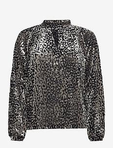 SLKamiko Blouse LS - bluzki z długimi rękawami - light grey leo burn out