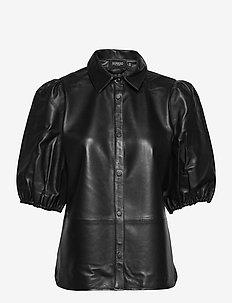 SLAmira Leather Shirt - short-sleeved blouses - black