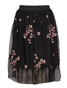 Lane Skirt - BLACK FLORAL EMBROIDERY