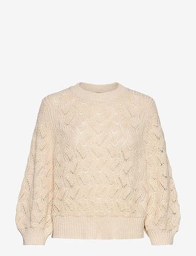 SLPointa Pullover 3/4 - sweaters - whisper white