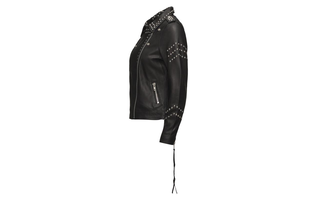 Schnoor Print Mouton Sofie Peau Jacket Studs 100 De Back And W Black ZAqAw6d