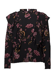 Blouse w frills - BLACK